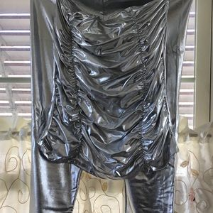 Other - Silver Lame Ruched Bustier with Skinny Leg pants
